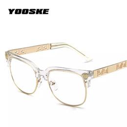 Marcos para prescripción online-YOOSKE Moda Gafas de sol transparentes Mujeres Hombres Óptica Gafas graduadas Marcos Vintage Plain Glass Eyewear Mujeres Diseñador de la marca