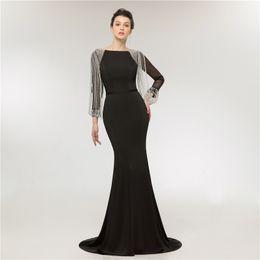 Wholesale host model - Classic Royal Blue Evening Dress Long Sleeve Illusion Beaded Fringe Prom Dress Party Dress Hosting Costume