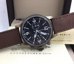 Argentina Endurance Chronograph Black Dial Tan Leather Reloj de hombre EUC Brown 7809 reloj Suministro