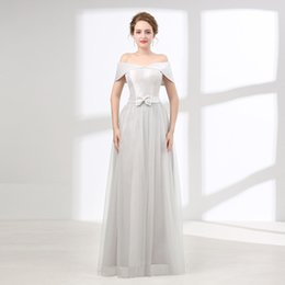 Wholesale Cheap Bridesmaids Dresses China - Grey bridesmaid dresses off shoulder simple cheap china bridesmaid dress floor length lace up junior bridesmaid dress