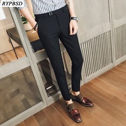 vestido ajustado de los hombres grandes Rebajas 2018 New Fashion Men Suit Pants Slim Fit Dress Pants Hombres Oficina Pantalones Tamaño grande Business Classic Men Office