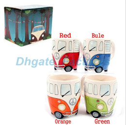 Wholesale Led F1 - Free Shipping F1 Camper Van Adventures! Retro Car Mug Ceramic Hippie Coffee Mug with Gift Box JF-797