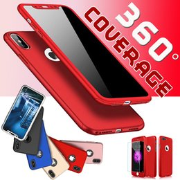Wholesale Film Plastics - Full Coverage Hybird 360 Degree All Body Cover Hard Plastic With Screen Protectiver Film Glass Case For iPhone X 8 Plus 7 6 6S MOQ:500pcs
