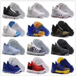 Wholesale Beautiful Culture - Beautiful Zoom KD 10 Anniversary PE Oreo Red Men Basketball Shoes KD 10 X Elite Low Kevin Durant Grade School Sport Sneakers