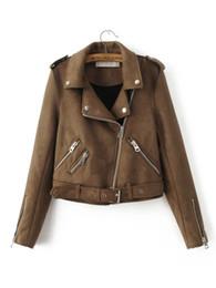 Полная кожаная куртка онлайн-Новая мода Женщины Suede мотоцикла куртка Тонкий Браун Полный Подкладка Мягкая искусственная кожа Женский Coat Epaulet Zipper Верхняя одежда