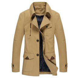Wholesale Cheap Windbreaker - Wholesale- Male Trench Coat 2017 Classic Slim Fit British Trench Coat Fashion Casual Blazer Men High Quality Cheap Trench Khaki Windbreaker