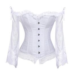 victorian corset xl Rebajas Corsé nupcial Tops para mujeres con mangas estilo victoriano Retro Burlesque Lace Corset y Bustiers chaleco de la boda de moda blanco