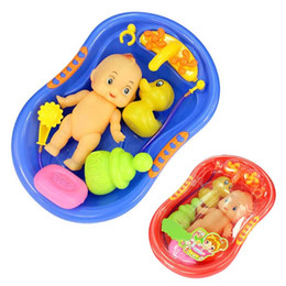 Wholesale Baby Plastic Bath Tub - 1 Set Baby Doll in Bath Tub With Shower Accessories Set Kids Pretend Role Play Toy Baby Dolls BM88