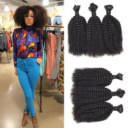 Cheveux bouclés en vrac en Ligne-Cheveux Humains Tisse En Vrac Afro Kinky Bouclés 3bundle Pour Femmes Noires 100% Cheveux Humains Naturels Non-Traités G-EASY