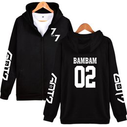 Wholesale Korean Mens Hoodie - BTS GOT7 K-Pop Korean Zipper Women Hoodies Sweatshirt GOT7 K-Pop Mens Autumn Winter Hooded Mens Streetwear New Arrive Clothes