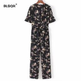 Wholesale Vintage Playsuits - BLSQR Vintage Floral Print V Neck Jumpsuits Sashes Short Sleeve Pockets Rompers Playsuits Female Fashion Casual Pants