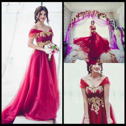 Wholesale Arabic Princess Style - Saudi Arabic Beach Bohemia Wedding Dresses A Line Cap Sleeves Wedding Gowns with Gold Lace Appliques Backless Bridal Gowns 2018 New Style