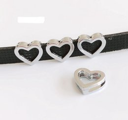 5pcs-10pcs accessori fai da te 8mm diametro interno 12MM * 12MM Hollow Smoth Face Heart Slide Charm Bead fai da te 8MM collare di cane gatto collare da