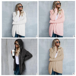 Wholesale Wholesale Soft Fleece Hoodies - Women Sweatshirt hoodie long sleeve sherpa fleece soft winter cardigan adorable warm women fashion coat Winter Warm Outwear KKA3606