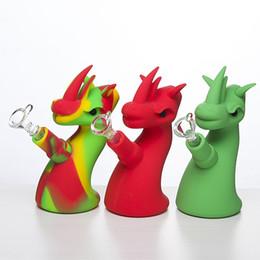 14mm bonito Dragão tubo de mão de silício com tigela de vidro cor aleatória Silicon dab rig Hookah Bongs tigela de vidro dab ferramenta de Fornecedores de dragão dragão