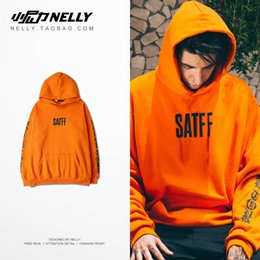Wholesale Long Dance Sweaters - 18SS spring summer men and women couple models 100% new Harajuku fashion wave die flying skateboard street dance orange hoodie sweater