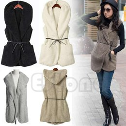 Wholesale wholesale faux fur vests - Women Hoodie Long Vest Sleeveless Jacket Faux Lamb Fur Coat Waistcoat Outerwear