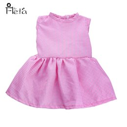 Wholesale Wool Baby Dress - Fleta Fashion Princess Bright Pink Plaid Dress fit 43cm Baby Born Zapf Doll or 18 inch doll accessories baby the best gift b951