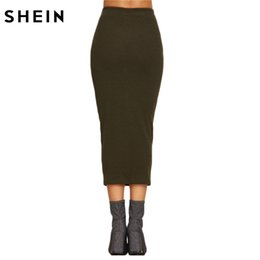 Wholesale Tight Long Pencil Skirt - SHEIN Spring Womens Long Skirts Fashions Famous Brand Elegant Style Tight Skirts Olive Green Ribbed Knit Pencil Skirt