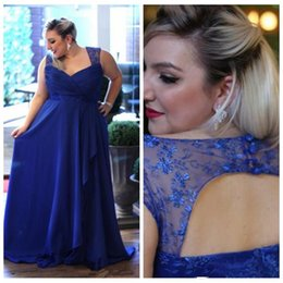 Wholesale Lace Bridesmaid Dresses Jacket - 2017 Plus Size A line Chiffon Evening Dresses Royal Blue Spaghetti Straps Formal Prom Gowns Bridesmaids Dresses Mothers' Dress