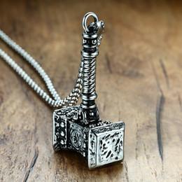 regalos de vikingos Rebajas Collar sólido para hombre, collar de martillo vikingo Thors, acero inoxidable, vintage, Mjolnir, collar nórdico, joyería, regalo de Navidad