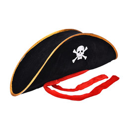 Wholesale caribbean dresses - Skull Pirate Costume Fancy Dress Hlooween Party Accessories Skull Cap Caribbean Corsair Hat Party Supplies Adult Pirate Hat