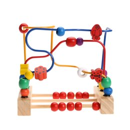 Wholesale Counting Abacus - Wooden Baby Math Toys Counting Circles Bead Abacus Wire Maze Roller Coaster Around Beads Wire Wood Maze Educational Toys