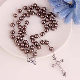 8mm rosario collana di perline con ciondolo croce d'argento Gesù gioielli a forma di y per cristiano cattolico pregare regalo di natale cheap y beads da y perline fornitori