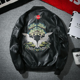 Wholesale korean leather jacket style - New Type Men's Korean Character Badge Locomotive Chinese Style Embroidery PU Leather Jacket Trend Male Leather Jacket