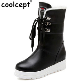 Wholesale Mid Heel Shoes For Women - Coolcept Size 34-43 Women Half Short Snow Boots With Thick Fur Cross Strap Shoes For Cold Winter Boots Platform Women Footwear