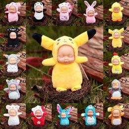 boneca de borracha rosa Desconto Bonito Totoro brinquedos de pelúcia com Chaveiro Dormir Baby Doll Chaveiros Anéis Para As Mulheres Saco Acessórios Do Carro Chaveiro Pompom bonecas para crianças