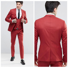 Wholesale Men Suits Blue Pinstripe - 2018 Vintage Groom Red Tuxedos Shawl Lapel One Button Three Pockets Groom Suits Extremely Cool Best Man Suits (Jacket+Pants+Vest)
