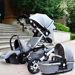 Wholesale high baby strollers - Luxury Baby Stroller 3 in 1 High Landscape Pram foldable pushchair & Car Seat Mainstream color Black Gray 0 to 3 years old
