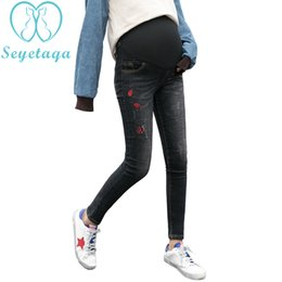 96d3812445441 2003# Autumn Winter Thicken Fashion Maternity Jeans Embroidery Denim Pencil  Trousers Clothes for Pregnant Women Pregnnacy Pants