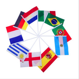 Wholesale Wholesale Flag Poles - Hand Held Flying Flags Small Custom Hand Waving Flag Cheerleading Bunting Flag with Pole World Cup 2018 Russia Football National Team Banner