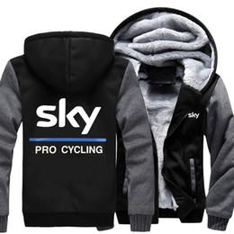 Wholesale Men S Winter Cycling Jacket - 2018 New USA SIZE Men Winter Autumn Hoodies SKY PRO CYCLING pattern Fleece Coat Baseball Uniform Sportswear Jacket wool