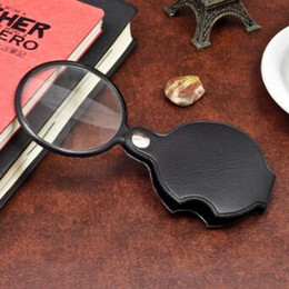 Wholesale Mini Magnifying Glass Portable - Portable Mini Black 50mm 10x Hand-Hold Reading Magnifying Magnifier Lens Glass Foldable Jewelry Loop Jewelry Loupes CCA8714 200pcs