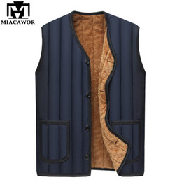 Wholesale mens v neck fleece - MIACAWOR New Casual Men Vest Fleece Winter Jacket Sleeveless Mens Coats Warm Coon-Padded Waistcoat J473