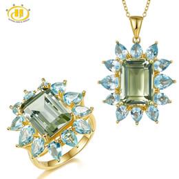 Hutang Green Amethyst Jewelry Sets Natural Gemstone Sky Topaz Azul 925 Sólido Anillo de Plata Colgante de Joyería de Moda Fina desde fabricantes