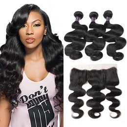 Wholesale Weave Front Closure - Brazilian Body Wave Virgin Hair Bundles with 13x4 Lace Frontal Bundles Wet and Wavy Body Wave Lace Front Weaves Closure Unprocessed Hair 3Pc
