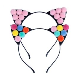 Wholesale Photo Ms - Colored Balls Headband Fur Ball Cat Ears Children's Headdress Ms. Photo Props Hair Accessories
