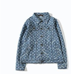 Wholesale Floral Jean Jacket - 2018 ape New Ripped Denim jacket hip hop streetwear printing loose men and women unisex broken jean jackets,street couple denim jacket