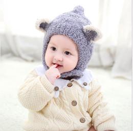 Cappuccio gril online-2018 nuovo stile bambino caldo cappello morbido inverno termico berretti di Natale bambini maglia lana uncinetto cappelli di volpe orecchio per ragazzo gril