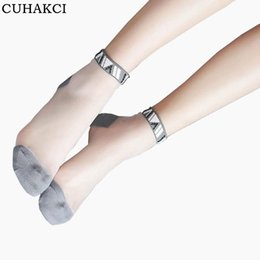 Wholesale Transparent Glass Socks - CUHAKCI 20171 Pairs Of New Summer Fashion Woman Transparent Crystal Socks Glass Silk Casual Stitching Thin Nylon Socks 4 Colors