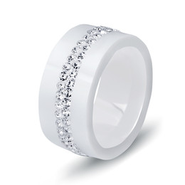 2019 dual-chip-handys Neue 10 MM Schwarz und Weiß 2 Reihe Kristall Keramik Ring Frauen Engagement Versprechen Hochzeit Band Geschenke Für Frauen