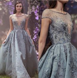 c78c5a5ed00 Discount paolo sebastian short sleeve dress - Sheer Paolo Sebastian 2018 Prom  Dresses Blue Capped Sleeves