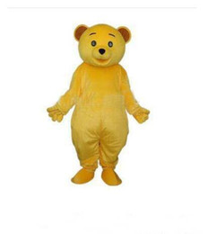 Wholesale Teddy Bear Adult Mascot - EMS FREE SHIPPING NEW Cheap Golden Yellow Teddy Bear Mascot Costume Adult Size Cartoon Character Mascotte Carnival Cosply Costume