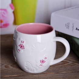 Wholesale Couples Beautiful - 350ML Elegant Coffee Mugs Beautiful Cherry Blossom Sakura Ceramic Coffee mug Cute Loving Couple Mugs Pink White Ceramic Milk mug