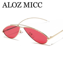 ALOZ MICC 2018 Sexy Cat Eye Sunglasses Mujeres Hombres Summer Vintage Red Yellow Pink Lens Metal Sun Gafas Mujeres A524 desde fabricantes