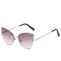 Argentina 2018 nuevos llegan gafas de sol de lujo sin montura gafas de sol de ojo de gato hombres mujeres gafas de sol para el diseñador de la marca la mejor calidad UV400 supplier best brand pc Suministro